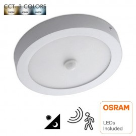 Plafón LED Superficie Circular 20W Detector de Movimiento - CCT - OSRAM CHIP