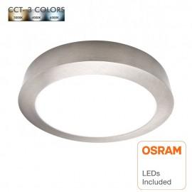 Plafón LED 15W Circular Acero Inox - CCT - OSRAM CHIP DURIS E 2835