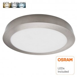 Plafón LED 20W Circular Acero Inox - CCT - OSRAM CHIP DURIS E 2835