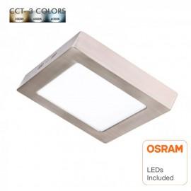 Plafón LED 15W Cuadrado Acero Inox - CCT - OSRAM CHIP DURIS E 2835
