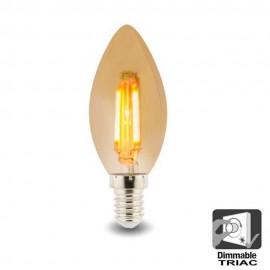 Bombilla LED Filamento Vela 4W E14 C37 - Dimmable