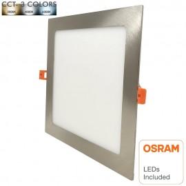Placa LED Slim Cuadrada 20W Acero Inox - CCT - OSRAM CHIP DURIS E 2835