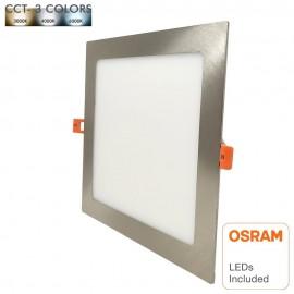 Placa LED Slim Cuadrada 15W Acero Inox - CCT - OSRAM CHIP DURIS E 2835
