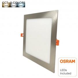 Placa LED Slim Cuadrada 8W Acero Inox - CCT - OSRAM CHIP DURIS E 2835