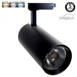 Spot LED 30W MAYA Rail Monophasé - CCT - DOB Driverless - CRI +90 - Noir et blanc