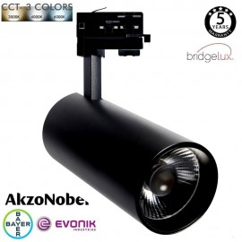 Foco LED 30W MAYA Carril Trifásico - CCT - DOB Driverless - CRI +90 - Negro