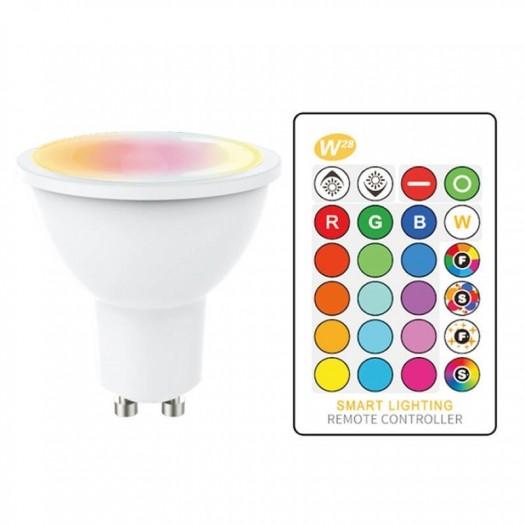 [Ibérica de Iluminación]Dicroica LED GU10 5W RGB+W  con Mando a Distancia