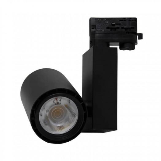 [Ibérica de Iluminación]Foco LED 40W BERLIN Negro Carril Trifásico CRI +90 UGR17