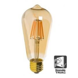 [Ibérica de Iluminación]Bombilla LED Filamento Vintage 7W E27 Gold ST64 - Dimmable
