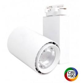 [Ibérica de Iluminación]Foco LED 40W BERLIN Blanco para Carril Monofásico 24º  CRI +90