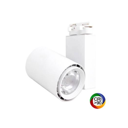 [Ibérica de Iluminación]Foco LED 40W BERLIN Blanco Carril Monofásico CRI +90