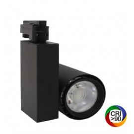 [Ibérica de Iluminación]Foco LED 40W BERLIN Negro para Carril Monofásico 24º CRI +90