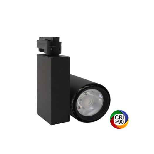 [Ibérica de Iluminación]Foco LED 40W BERLIN Negro Carril Monofásico CRI +90