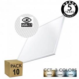 [Ibérica de Iluminación]PACK 10 Panel LED 60x60 cm 40W UGR17 - Marco Blanco - CCT - PACKPRO 10 UND