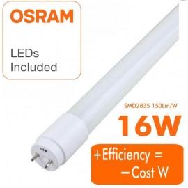 [Ibérica de Iluminación]Tubo LED 16W Cristal 120cm 300º - ALTA LUMINOSIDAD - OSRAM CHIP