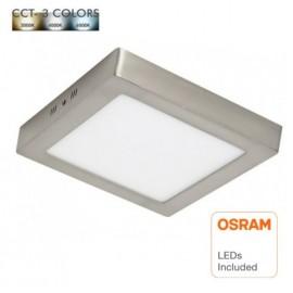 [Ibérica de Iluminación]Plafón LED 20W - Cuadrado Acero Inox - CCT - OSRAM CHIP DURIS E 2835