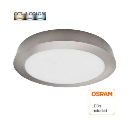 [Ibérica de Iluminación]Plafón LED 20W - Circular Acero Inox - CCT - OSRAM CHIP DURIS E 2835